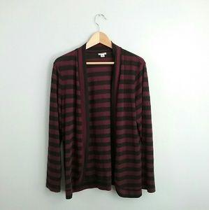 Croft & Barrow//Black & Red Striped Cardigan
